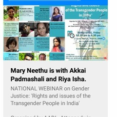 Active Event - Gender Justice- Rights And Issues Of The Transgender People In India RJ Radha Part 1