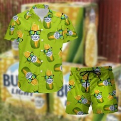 Busch Light Corn Hawaiian Shirt, Beach Shorts