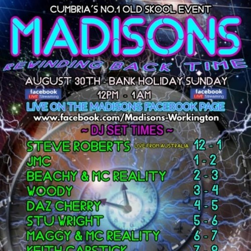 Mad J - Madisons 30th August 2020 Bank Holiday FaceBook Stream