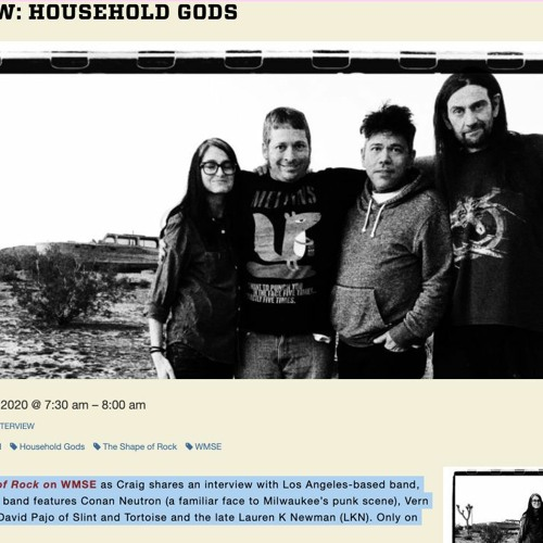 Household Gods Interview 06-02-2020 - WMSE