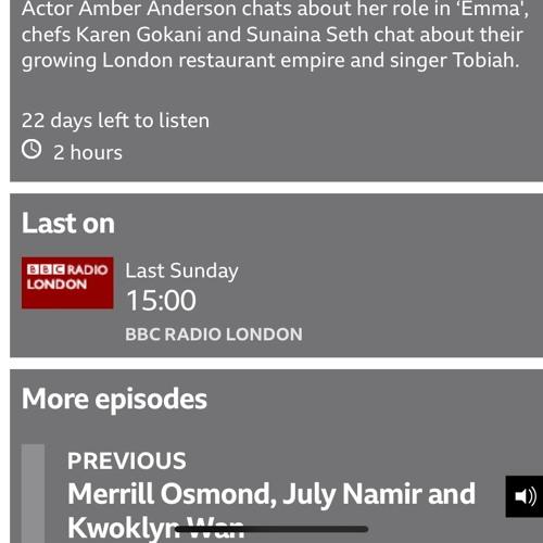 Gaby Roslin Show BBC 'Apples The Long Goodbye' TOBIAH live.