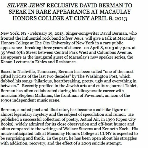 David Berman's Macaulay Honors College Lecture from April 8, 2013
