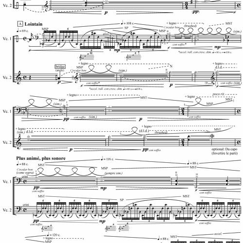 Un Eco di Soffio (2019) for two Cellos (Movement II)
