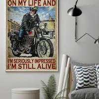 Biker sometimes i look back on my life poster