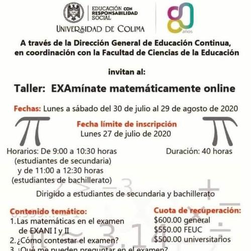 Invitan a Taller Examínate matecáticamente online.