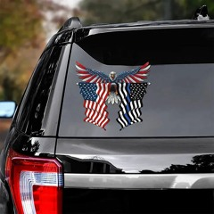 Thin blue line flag in Honor of Law Enforcement and eagle with American flag car sticker