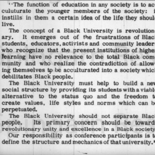 Black University & Black Studies