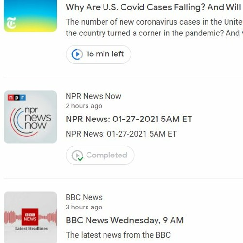 7:30 AM 1.27.21 - News Review: Why Are U.S. Covid Cases Falling? And Will the Trend Last?