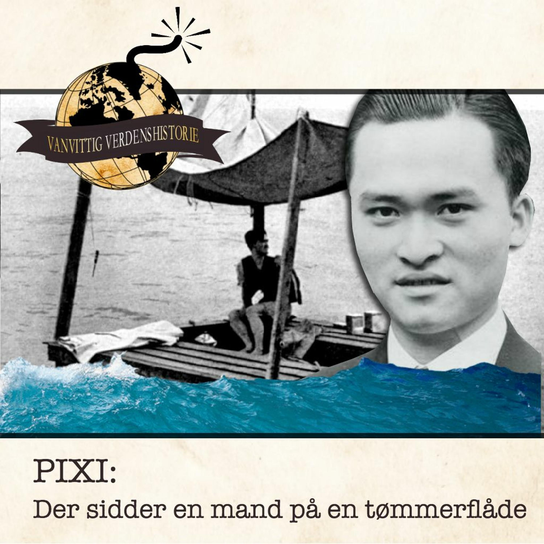 PIXI: Der sidder en mand på en tømmerflåde