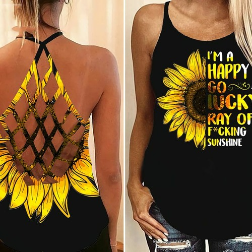 Sunflower I'm a happy go lucky ray of fucking criss-cross open back camisole tank top