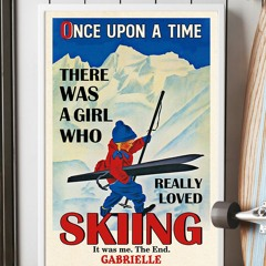 Personalized custom name once upon a time there was a girl who really loved skiing poster