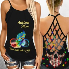Autism mom thou shalt not try me criss-cross open back camisole tank top