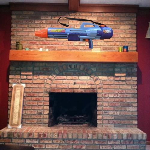 The one where God hangs the Super Soaker above the mantle