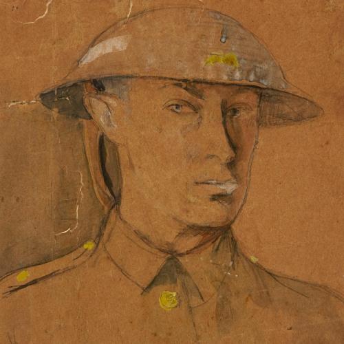 Isaac Rosenberg Self-Portrait in Steel Helmet