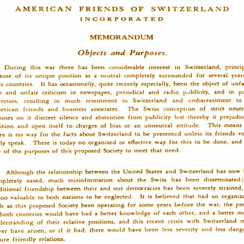 History of the American Swiss Foundation: Celebrating 75 Years on May 1, 2020