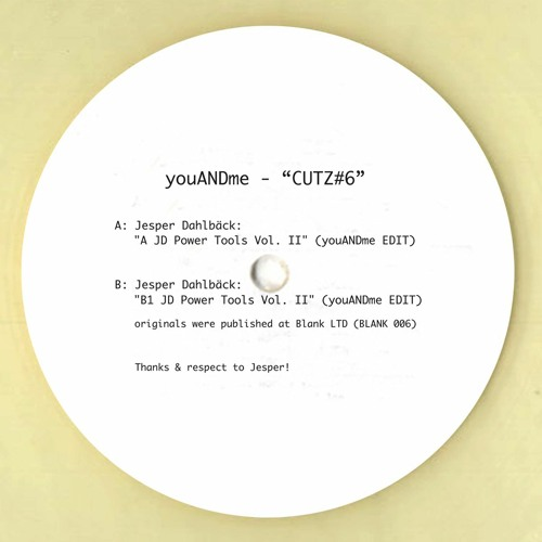 "Jesper Dahlbäck: ""B1 JD Power Tools Vol. II"" (youANDme Edit) / CUTZ#6"